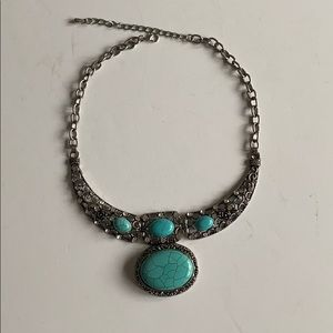 Teal Stone Silver Statement Choker Necklace
